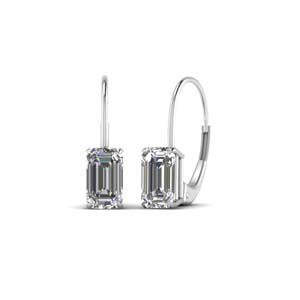 18K White Gold Emerald Cut Drop Earring