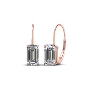 3 Ctw. Emerald Cut Drop Earring