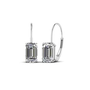 18K White Gold Diamond Drop Earring