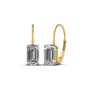 18K Yellow Gold Leverback Drop Earring