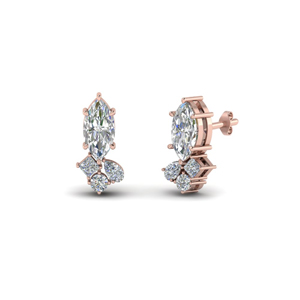 Princess Cluster Diamond Earrings