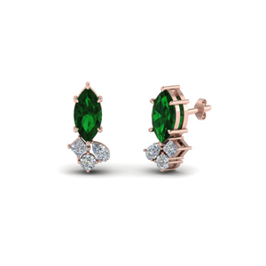 Rose Gold Emerald Earring