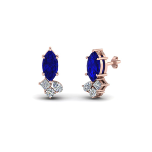 Cluster Diamond Earrings With Sapphire