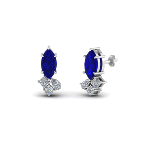 Sapphire Cluster Diamond Earrings