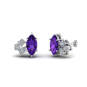 Cluster Amethyst Earrings For Women