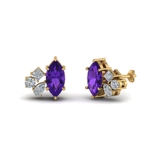Marquise Cluster Amethyst Earring
