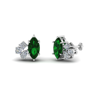 Cluster Marquise Emerald Earrings