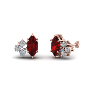 Ruby Marquise Cluster Earring