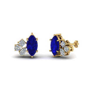 Cluster Sapphire Marquise Earring