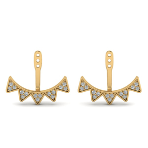 14K Gold V Shape Earlobe Jackets