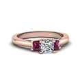 3 stone diamond engagement ring princess cut accent with pink sapphire in FDENR7756PRRGSADRPI NL RG
