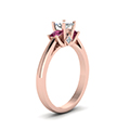 3 stone diamond engagement ring princess cut accent with pink sapphire in FDENR7756PRRGSADRPIANGLE2 NL RG