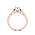 3 stone diamond engagement ring princess cut accent with pink sapphire in FDENR7756PRRGSADRPIANGLE3 NL RG