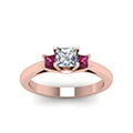 3 stone diamond engagement ring princess cut accent with pink sapphire in FDENR7756PRRGSADRPIANGLE5 NL RG