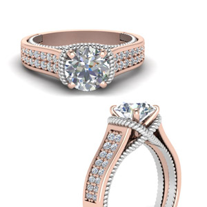 Multi Row Diamond Rose Gold Ring