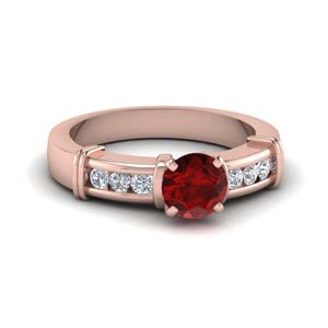 Ruby With Round Diamond Ring