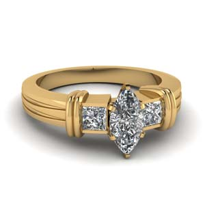 Bezel Set Marquise Engagement Ring
