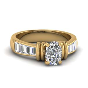 2 Bar Cushion Diamond Ring