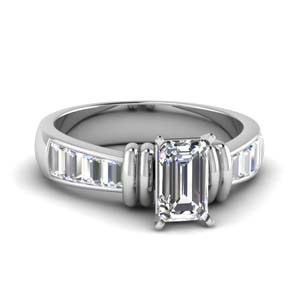 Tapered Lab Diamond Ring With Baguette