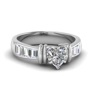 Baguette Heart Diamond Ring