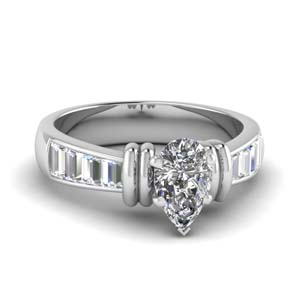 Platinum Pear Shaped Ring