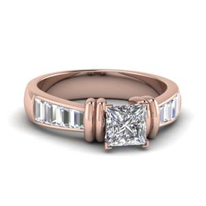 Princess Cut Side Stone Ring