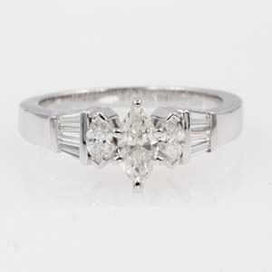 1 ct. diamond art deco engagement ring with baguette in 14K white gold FDENR1120MQR