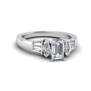 Emerald Cut Diamond Side Stone Ring