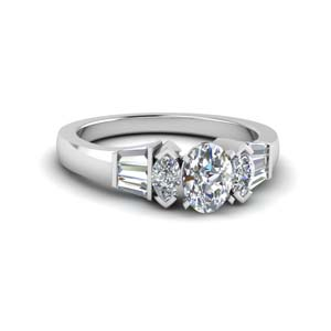 Oval Diamond Tapered Baguette Ring