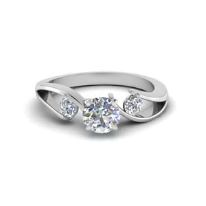 1 ct. round diamond 3 stone engagement ring in FDENR1140RORANGLE1 NL WG