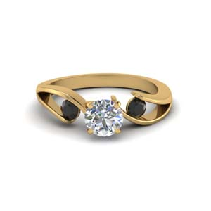 tension set round cut 3 stone engagement ring with black diamond in FDENR1140RORGBLACKANGLE1 NL YG
