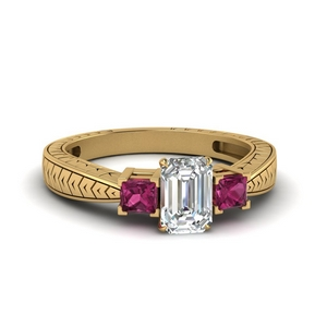Emerald Cut Ring With Pink Sapphire