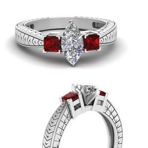 V Design Ring With Ruby