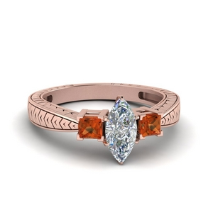 Orange Sapphire V Design Ring