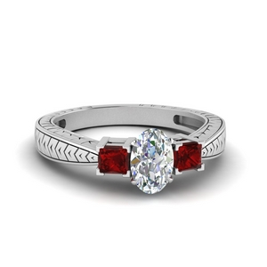 Oval Shaped Ruby Engagement Ring