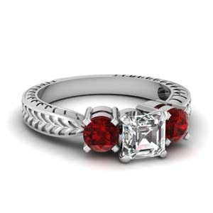 Ruby Vintage 3 Stone Ring