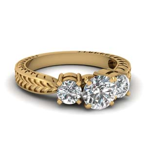 2 Carat Engraved 3 Stone Ring