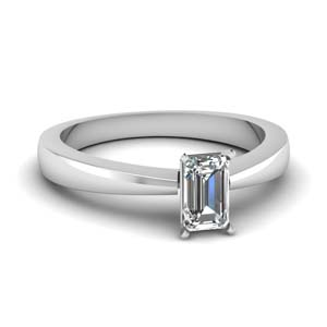 Solitaire Half Carat Emerald Cut Ring