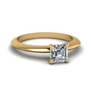 Asscher Cut Diamond Solitaire Rings