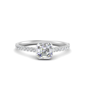 Delicate Asscher Cut Half Carat Diamond Ring