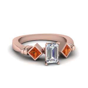 Kite Set Orange Sapphire Ring