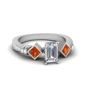 Kite Set Emerald Cut Engagement Ring