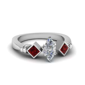 Ruby With 3 Stone Ring