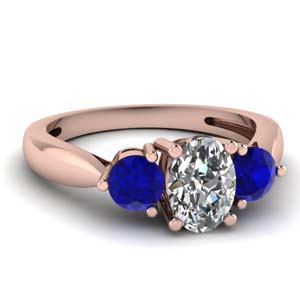 3 stone tapered engagement ring with sapphire in FDENR1505OVRGSABL NL RG