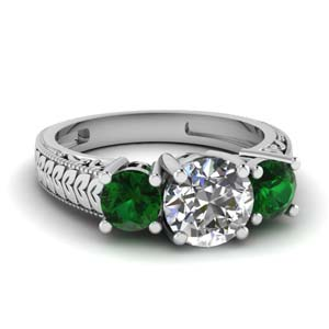 vintage engraved 3 stone engagement ring with emerald in FDENR1536RORGEMGR NL WG