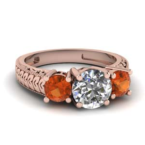 Orange Sapphire Leaf Design Ring