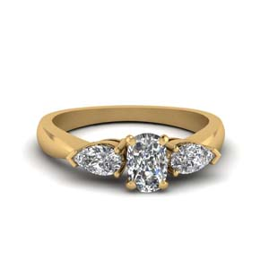 Three Stone Cushion Cut Ring