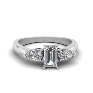 3 Stone Emerald Cut Engagement Ring