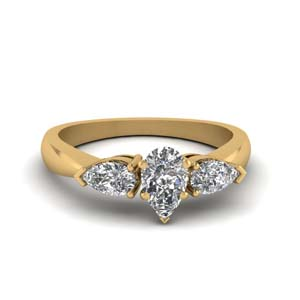 Pear Shaped 3 Stone Diamond Ring