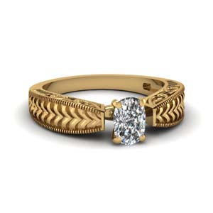 Gold Cushion Diamond Ring